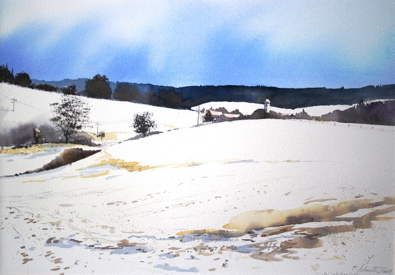 4 Schneelandschaft bei Wettenhausen 23x33cm