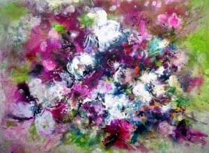 Blüten Acryl, 60x80cm