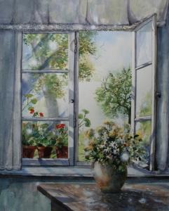 Blick aus dem Fenster, Kreisheimatstube Stoffenried 51x41cm 2014