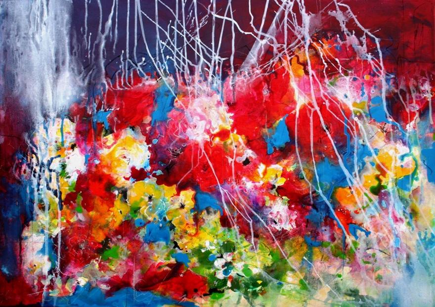 Blumen-Fantasie 70x100cm Acryl