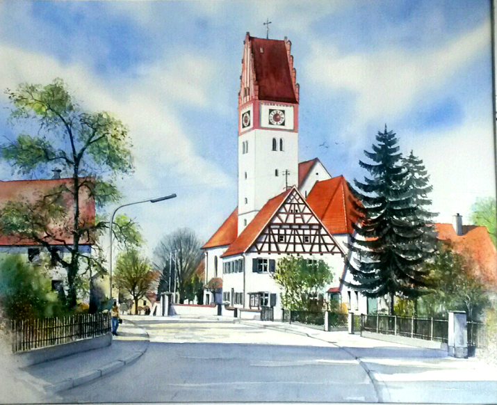Bubesheim Aquarell 40,5x45,5cm