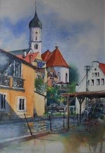 Burgau 1 Blick auf die Kirche 32x22cm