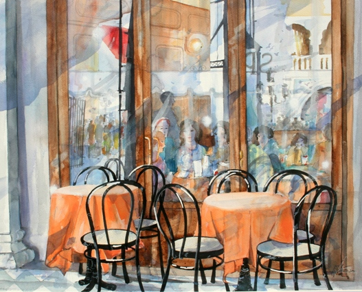 Cafe in Venedig 42x51cm 2014 -