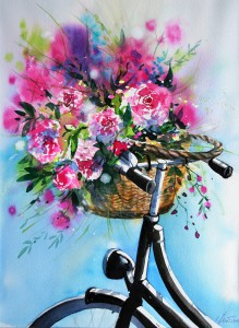 Fahrrad mit Pfingstrosen 38x28cm