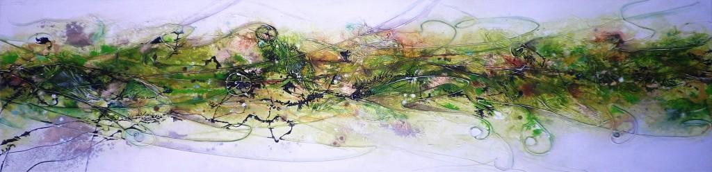 Fantasie in Grün 120x30cm