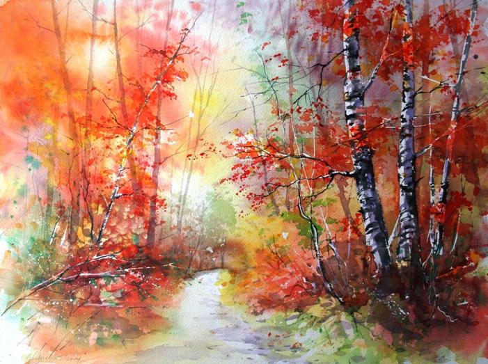 Herbstwald 35x45cm