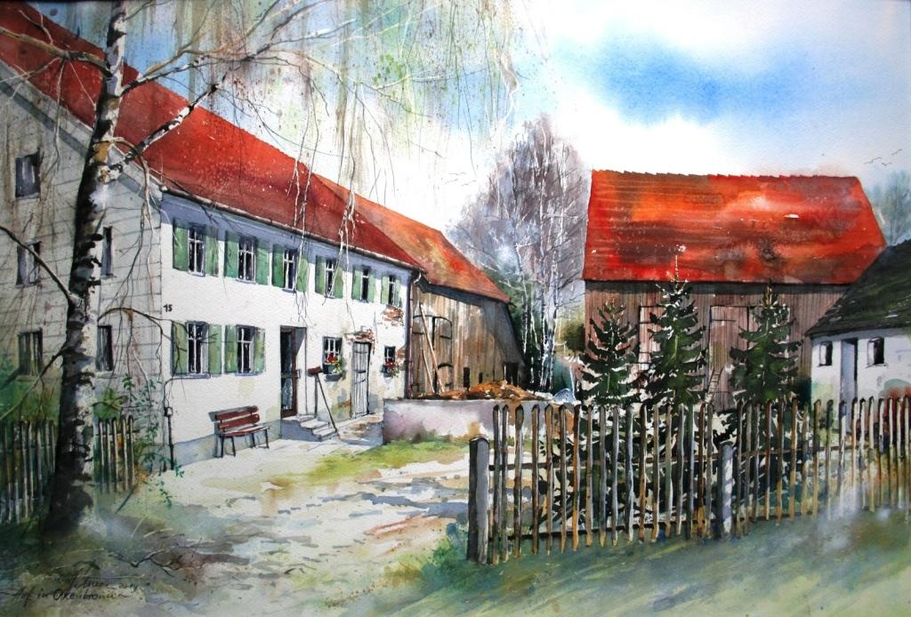 Hof in Oxenbronn 40x59cm