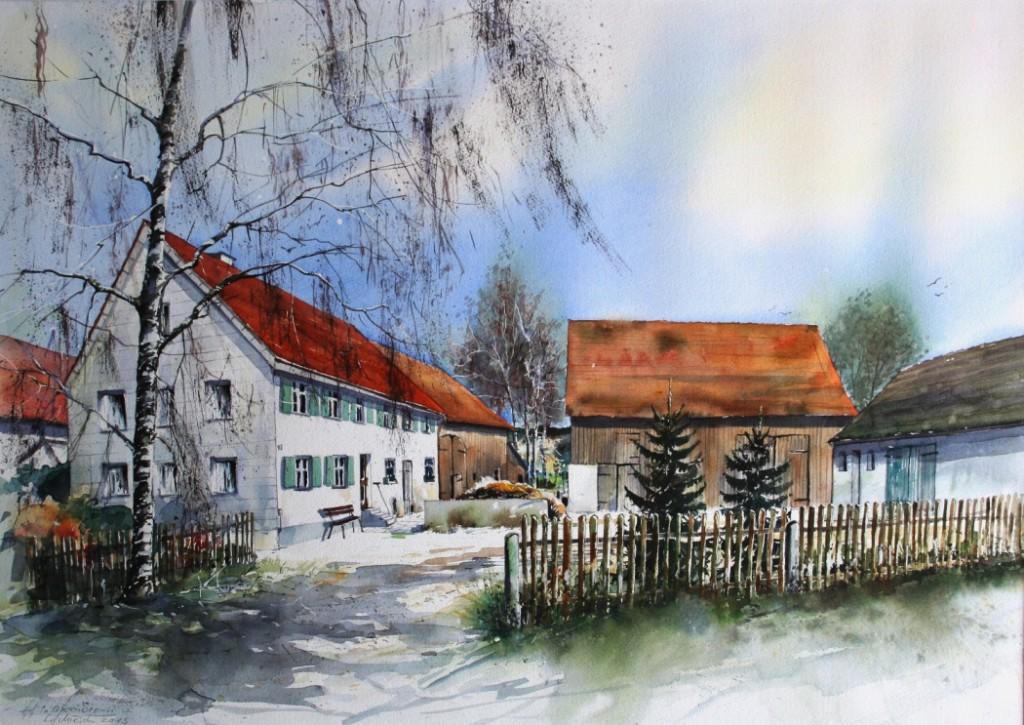 Hof in Oxenbronn, 44x63cm
