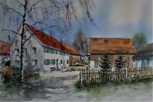 Hof in Oxenbronn, 44x63cm 2015