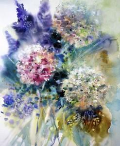 Hortensien Aquarell