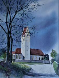 Kirche Oberfahlheim,42x32cm