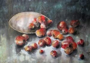 Letzte Äpfel Aquarell & Pastell 50x70cm 2014