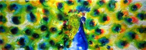 Pfau - Aquarell - Airbrush auf Leinwand, 35 x 100 cm