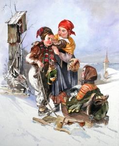 Schlittenfahrt 60x40cm, nach Jakob Grünenwald