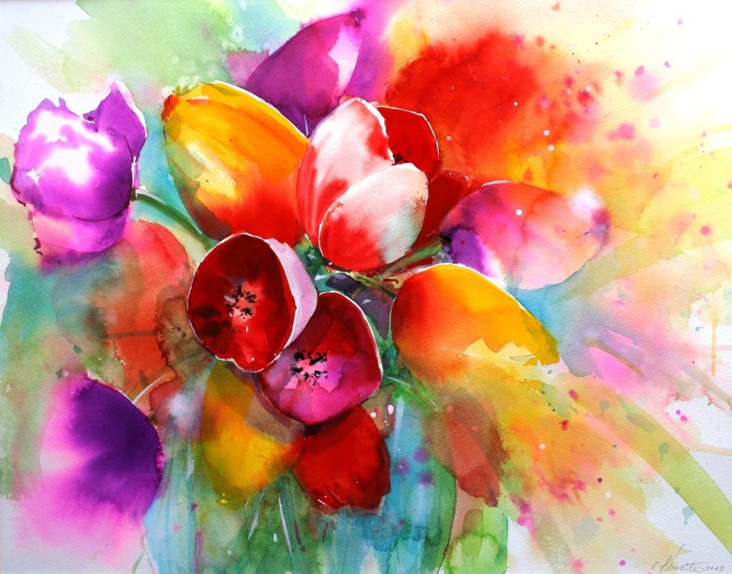 Tulpen in Vase 37x47cm