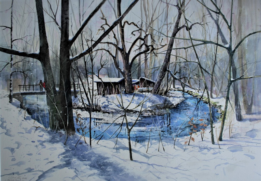 Winter in Oberfahlheim, 50x70cm
