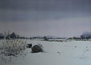 Winterlandschaft zwischen Glassenhart und Oberfahlheim, 47,5x67cm
