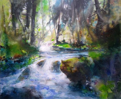 acryl Wasserlauf 50 x 60 cm
