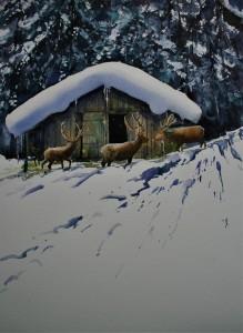 Wild im Schnee, 40x30cm